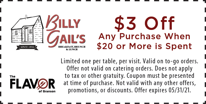 Coupon for Billy Gail's